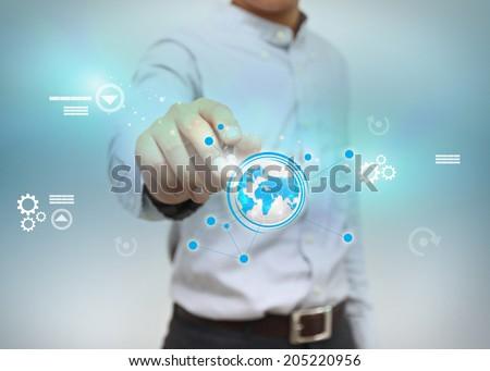 businessman write business world. - stock photo