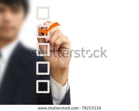 Businessman write check - stock photo