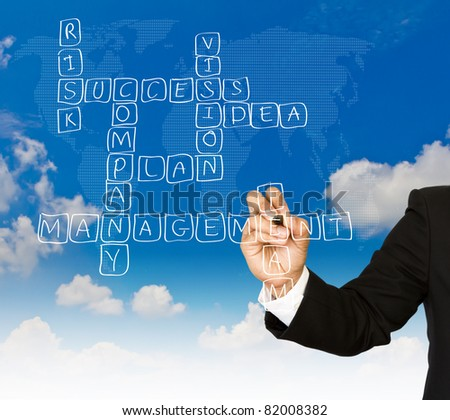 Businessman write Crossword Puzzle of strategy plan to be successful in his business - stock photo