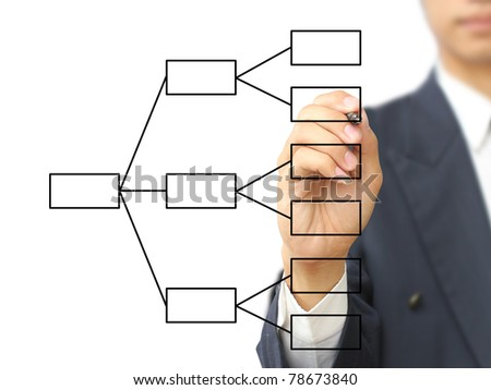 Businessman write diagram - stock photo