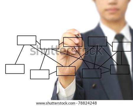 Businessman write diagram - stock photo