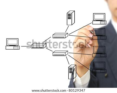 Businessman write multi point connection - stock photo