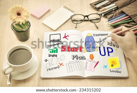 "Businessman write  Notebook word ""Start up""  - stock photo"