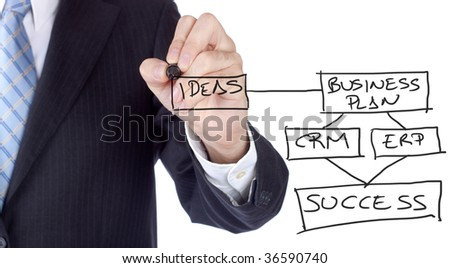 Businessman writing a business plan to get success. - stock photo