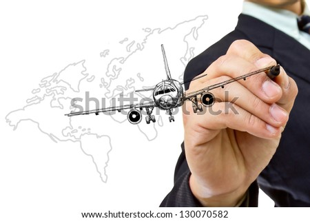 businessman writing air plane with white background - stock photo