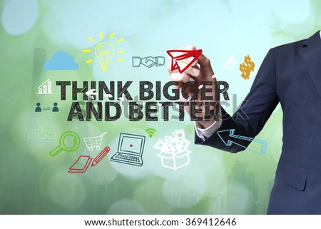 Businessman writing and drawing DATA ANALYSTS concept on blurred abstract background , business concept , business idea - stock photo