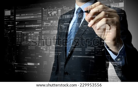 businessman writing and drawing some sketches  - stock photo