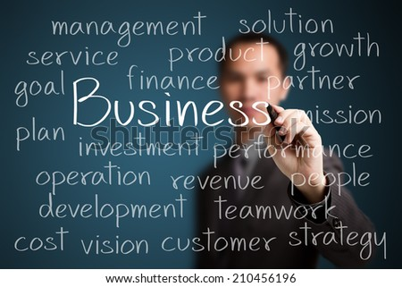 businessman writing business concept - stock photo