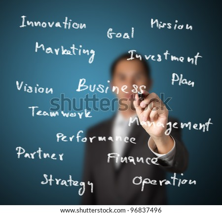 businessman writing business concept on whiteboard - stock photo