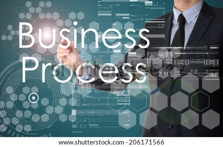 businessman writing Business Process and drawing graphs and diagrams  - stock photo