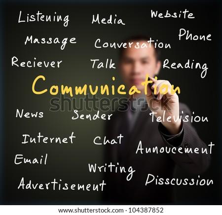 businessman writing communication concept on whiteboard - stock photo