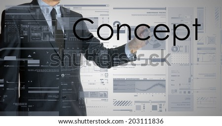 businessman writing concept and drawing graphs and diagrams - stock photo
