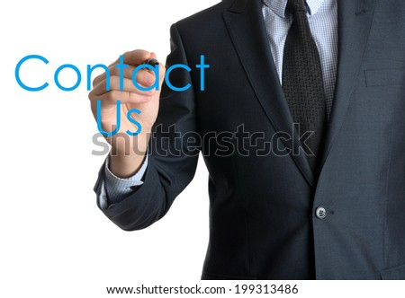 businessman writing contact us on a screen on white background  - stock photo