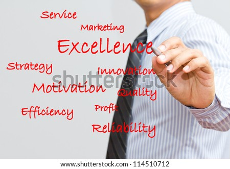 Businessman writing excellence and marketing wording - stock photo