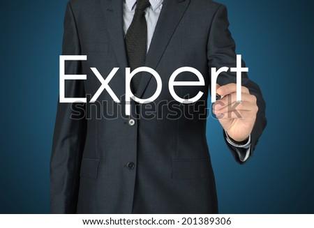 businessman writing expert - stock photo