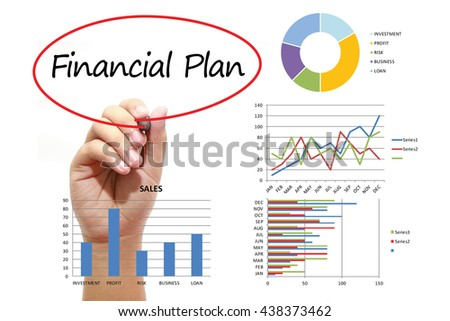 Businessman writing Financial Plan in red circle on virtual screen. Business, banking, finance and investment concept. - stock photo