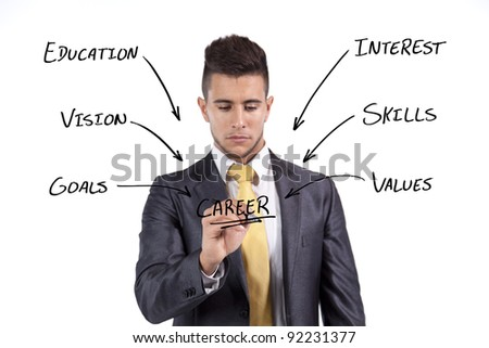 Businessman writing in the whiteboard his plan for a successful career (selective focus) - stock photo