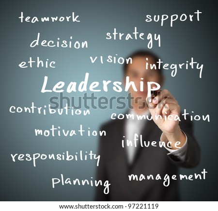 businessman writing leadership skill concept - stock photo