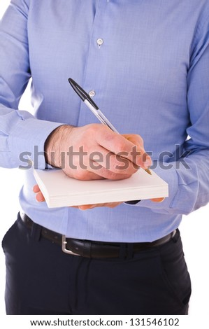 Businessman writing letter.