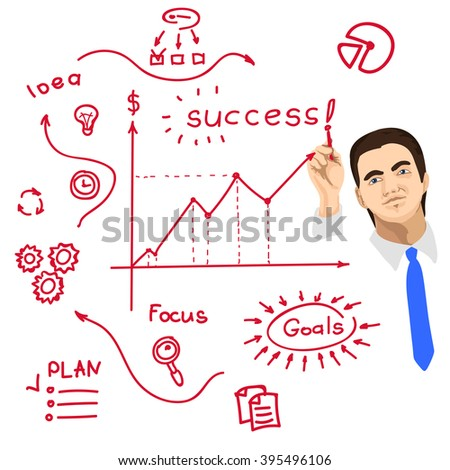 Businessman writing on whiteboard with red marker - stock photo