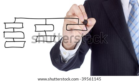 Businessman writing over a increasing bars for a success concept. - stock photo