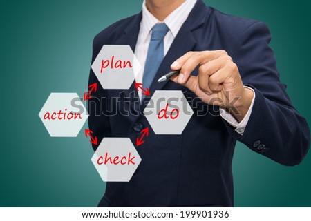 businessman writing PDCA - plan - do - check - action circle  - stock photo