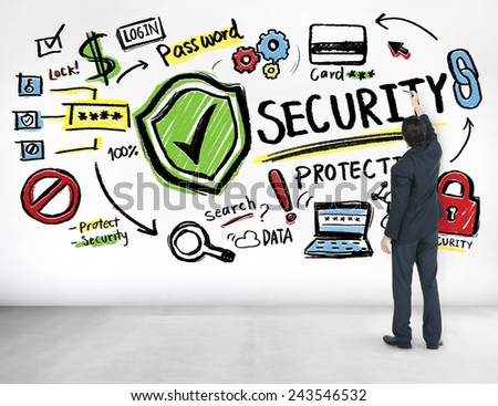 Businessman Writing Planning Security Protection Firewall Concept - stock photo