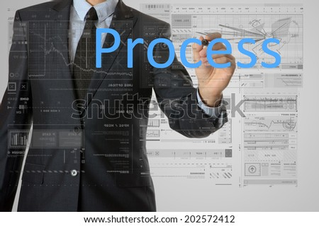 businessman writing process and drawing graphs and diagrams - stock photo