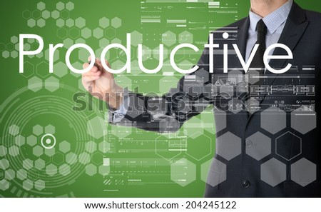 businessman writing Productive with some modern pattern in background - stock photo