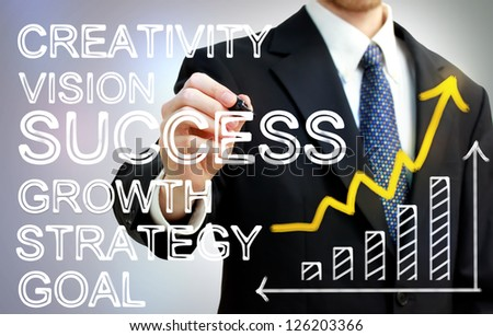 Businessman writing success concepts with rising arrow and bar graph - stock photo