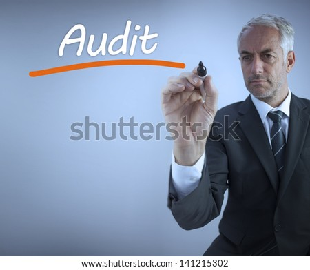 Businessman writing the word audit with a marker - stock photo