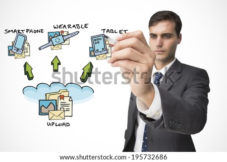 Businessman writing upload words on white background