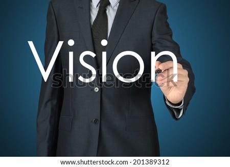 businessman writing vision - stock photo