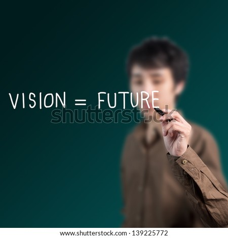 businessman writing vision and future on whiteboard - stock photo