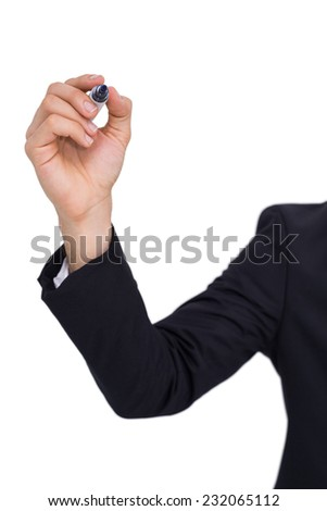 Businessman writing with black marker on white background