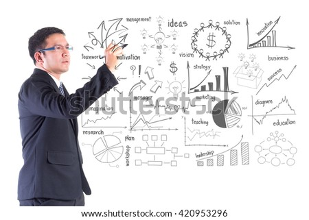 Businessman writing with creative thinking drawing business success strategy plan ideas concept,  isolated on white background - stock photo