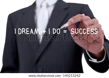 Businessman writing word dream and success on whiteboard - stock photo