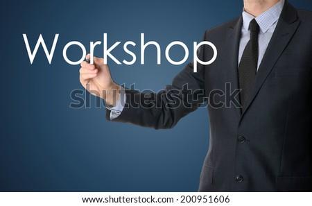 businessman writing workshop - stock photo