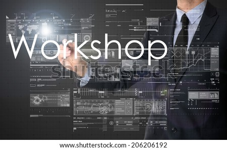 businessman writing Workshop and drawing some sketches  - stock photo