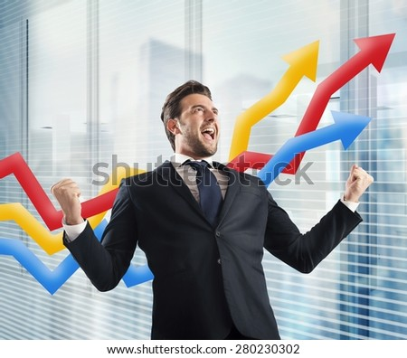 Businessman yells to delight of economic triumph