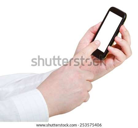 businessmanl touching smartphone with cut out screen isolated on white background - stock photo
