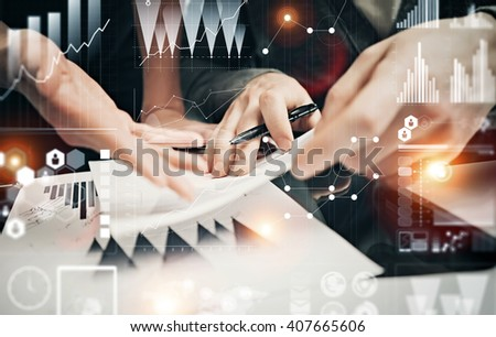Businessmans crew working banking investment project modern office.Man holding pen for sign documents. Worldwide connection technology icons,stock exchanges graphics interface. Horizontal - stock photo