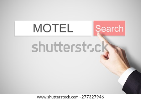 businessmans finger pressing red search button motel webbrowser - stock photo