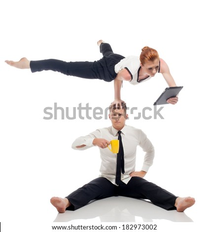 Businessmen - acrobats isolated on white backdrop