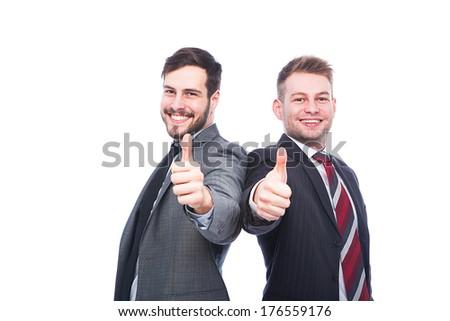 businessmen back to back showing ok on white background - stock photo
