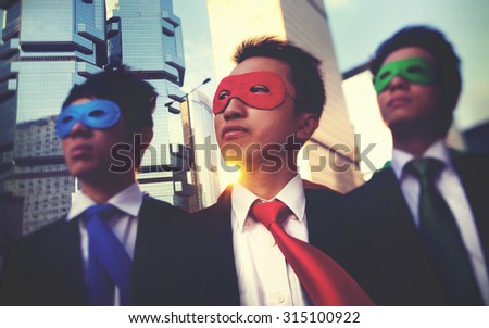 Businessmen Corporate Superhero City Concept - stock photo