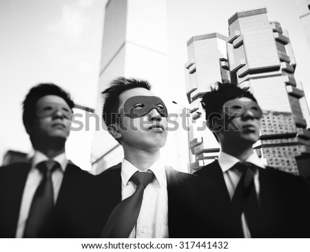 Businessmen Corporate Superhero City Concept
