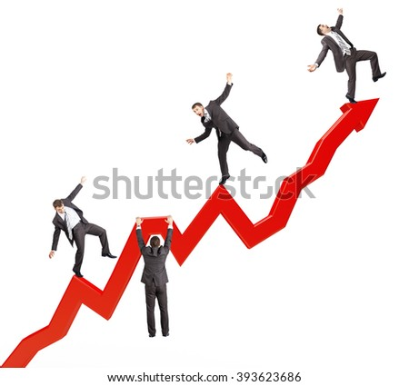 Businessmen falling from arrow