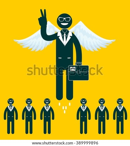 Businessmen flying with a wings and victory signt. Stock illustration   - stock photo