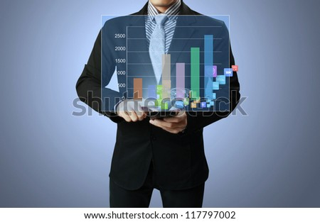 Businessmen graph on mobile phone and show mobile phone